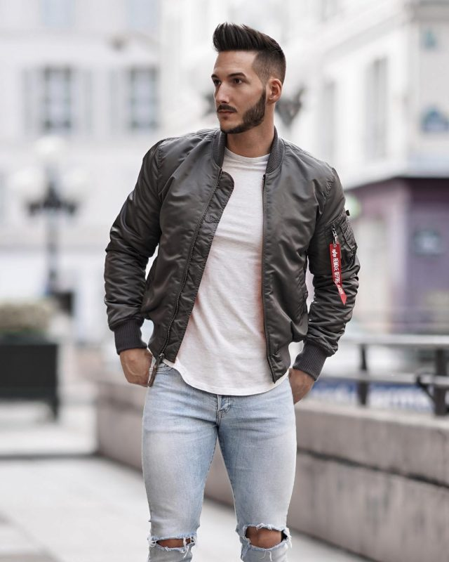 Bomber jacket, tee, jeans