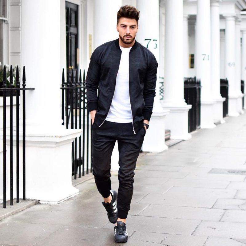 Bomber jacket, white tee, jogger pants, sneaker