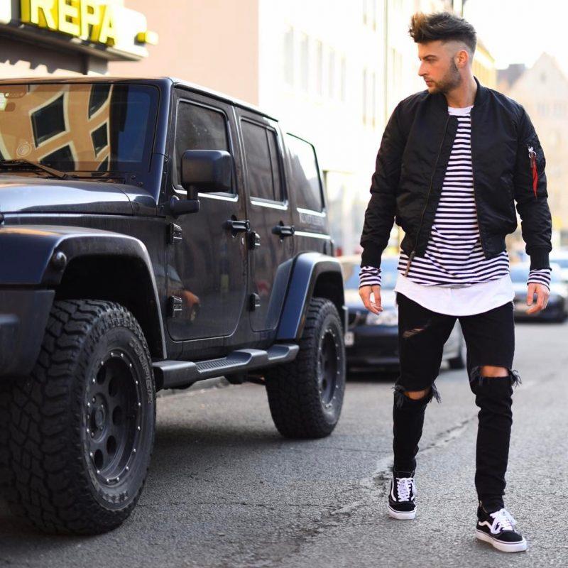 Bomber jacket, print tee, jeans, sneaker