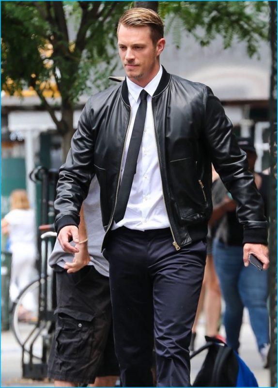 Leather bomber jacket, shirt, dress pants