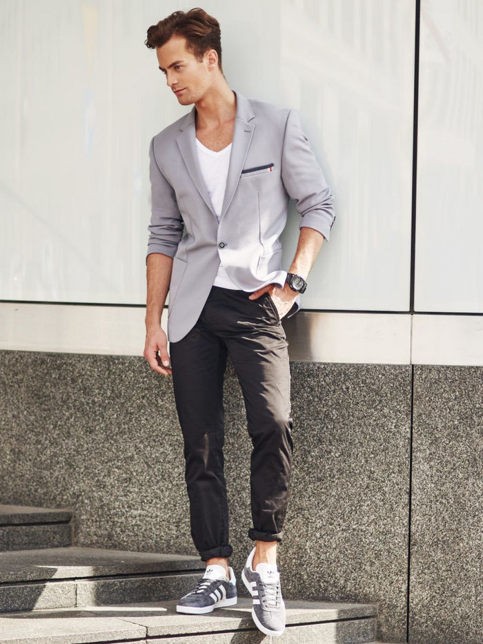 The Rebel - Gray blazer, v-neck white tee, dark gray pants, sneaker 1