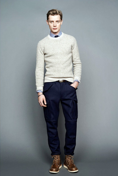 Friendly and Comfy - gray sweater, blue line shirt, tie, blue trousers, brown leather boots.