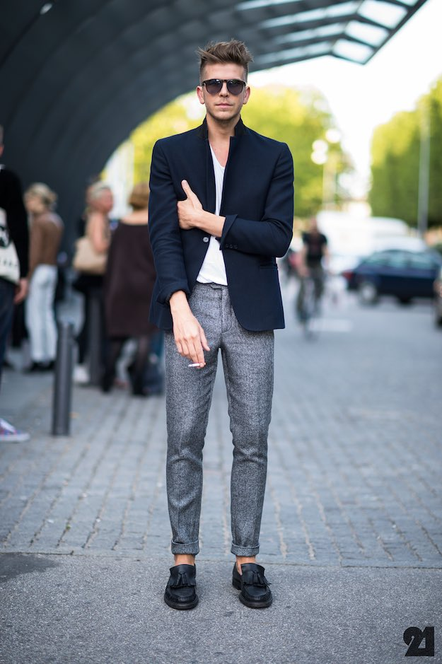 The Lowkey Celeb - blue blazer, white tee, wool pants, loafers 1