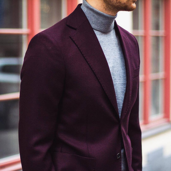 Purple Jacket and Gray Turtleneck Sweater 1