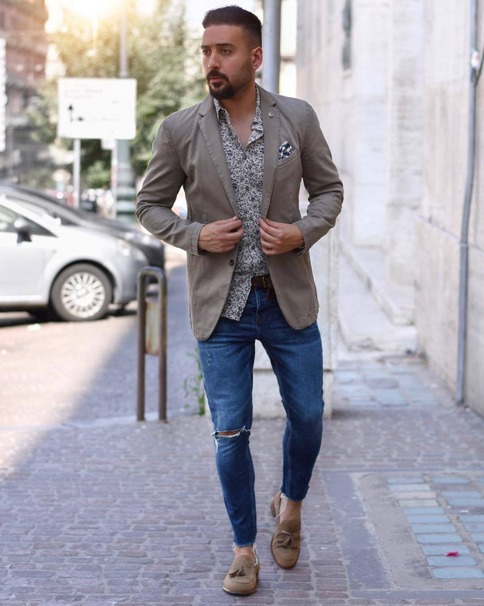 Last minute throw together - brown blazer, print shirt, blue ripped jeans, loafers 1