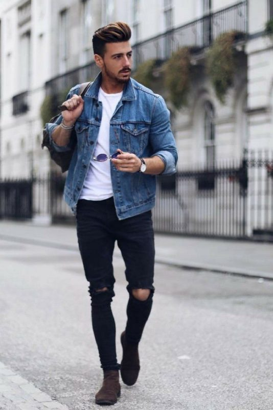 Denim in Fall Outfit Ideas - Blue denim jacket, white shirt, black ripped jeans