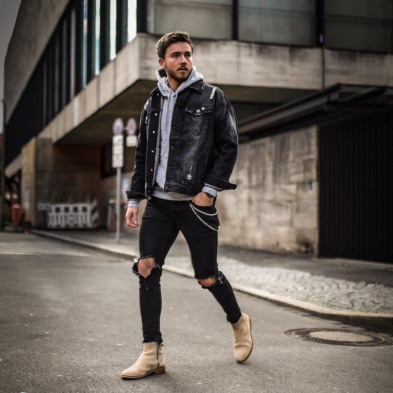 Denim jacket, hoodie sweatshirt, black jeans