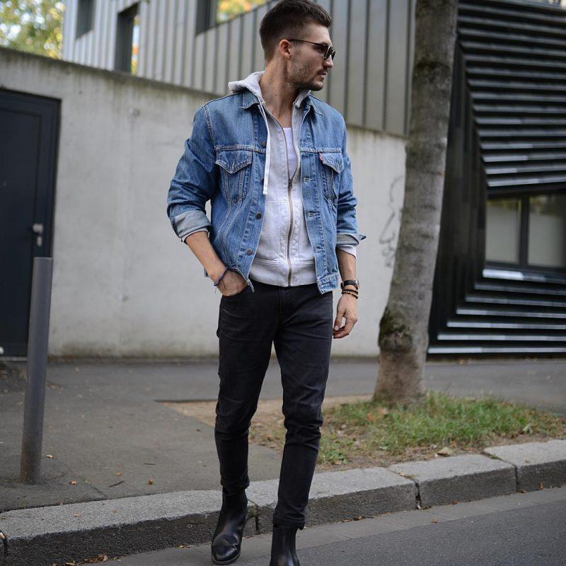 Denim jacket, hoodie sweatshirt, singlet, jeans
