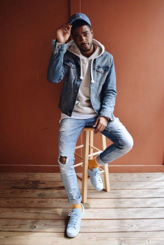 Denim jacket, hoodie sweatshirt, jeans