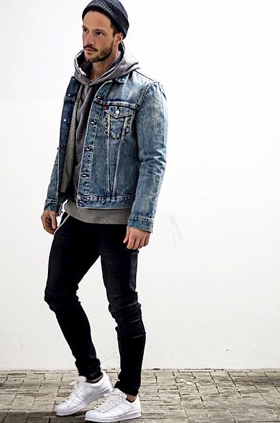 Denim jacket, hoodie sweatshirt, beanie hat, jeans