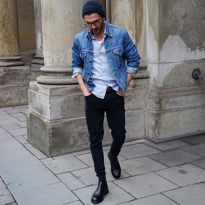 Denim jacket, dress shirt, black jeans