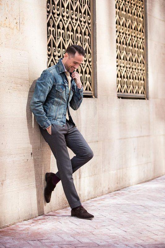 Denim jacket, dress shirt, dress pants
