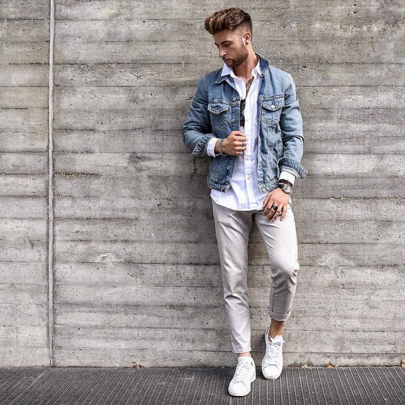 Denim jacket, dress shirt, trousers 3