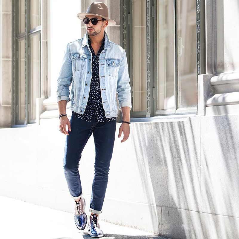 Denim jacket, dress shirt, jeans
