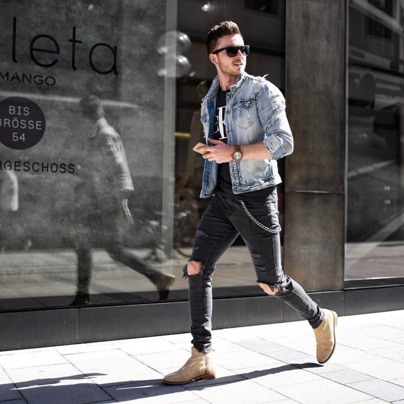 Denim jacket, black tee, jeans