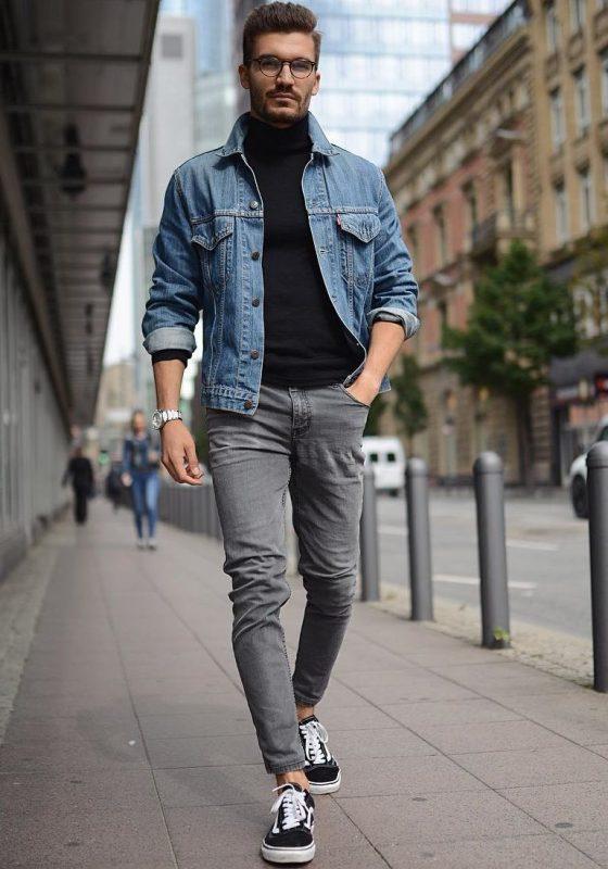 Denim jacket, black sweater, jeans