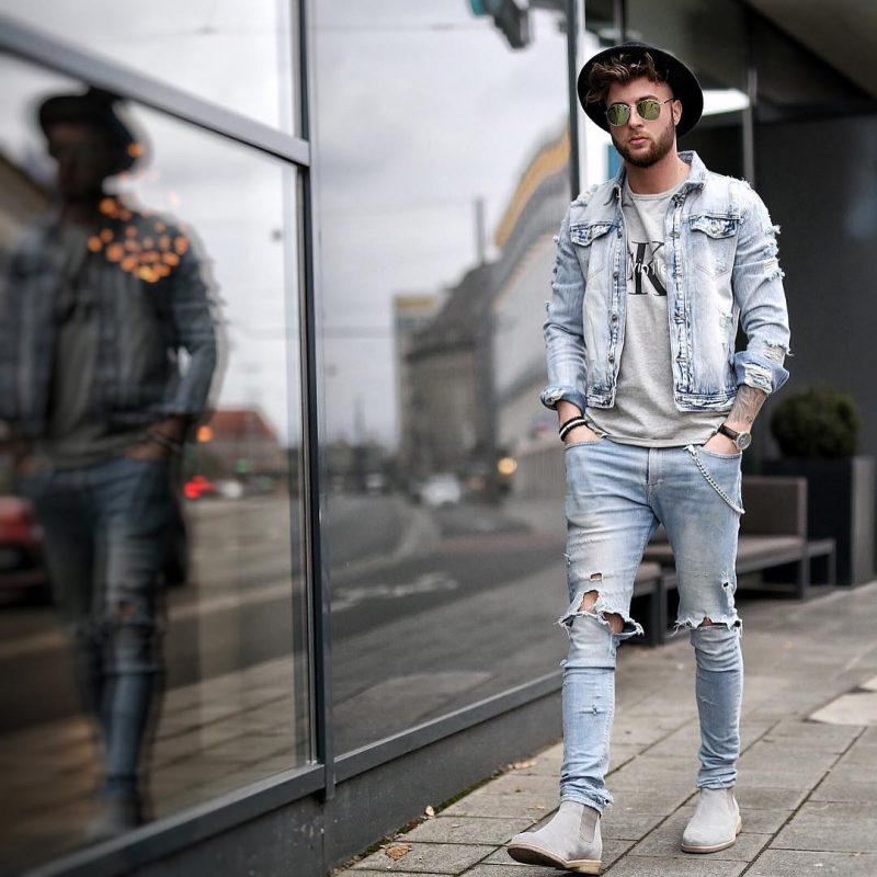 Denim jacket, gray tee, blue jeans