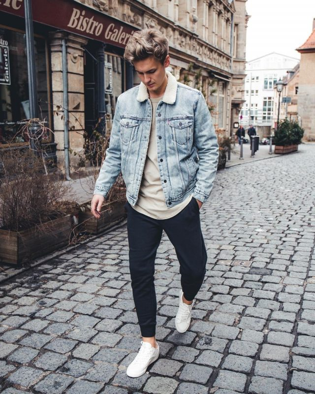 Shearling denim jacket, color tee, jeans