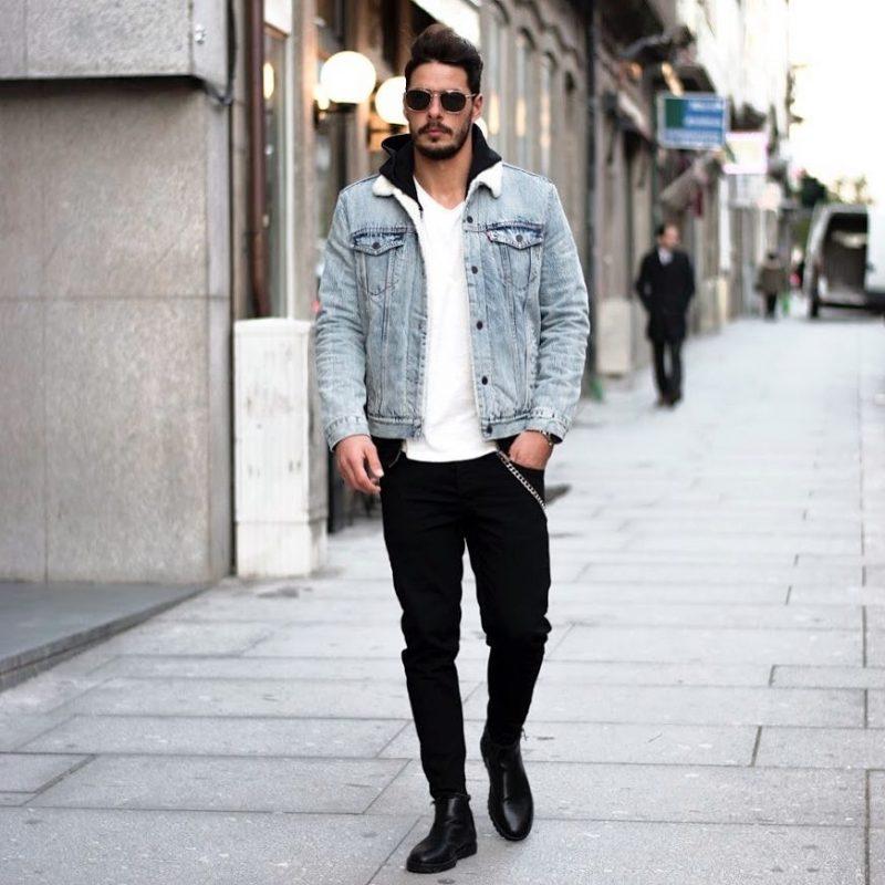 Shearling denim jacket, white tee, black jeans