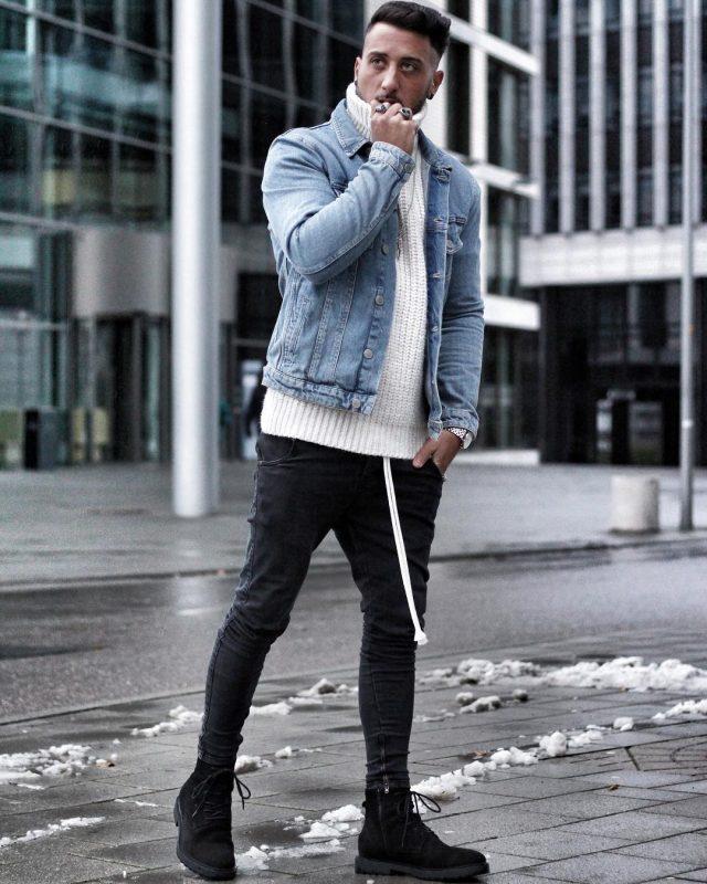 Denim jacket, sweater, black jeans