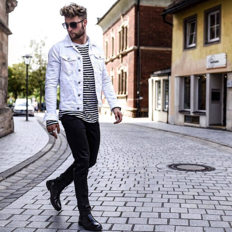 White denim jacket, print tee, jeans