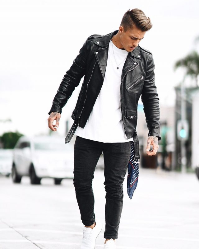 fall leather jacket outfit ideas - guys