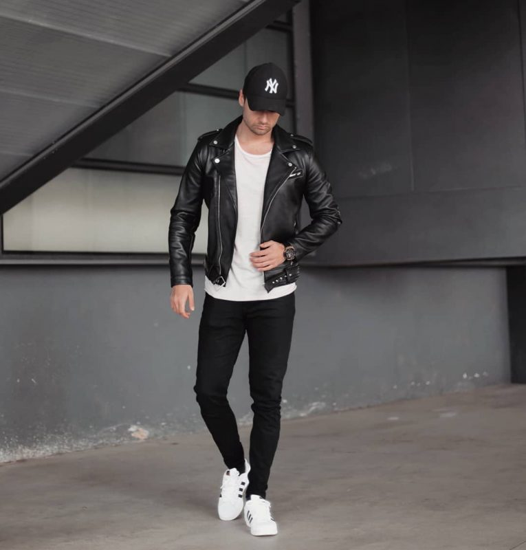 guys fall outfit with leather jacket