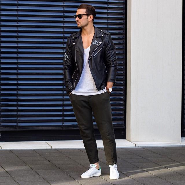Leather biker jacket, singlet, jeans, sneaker