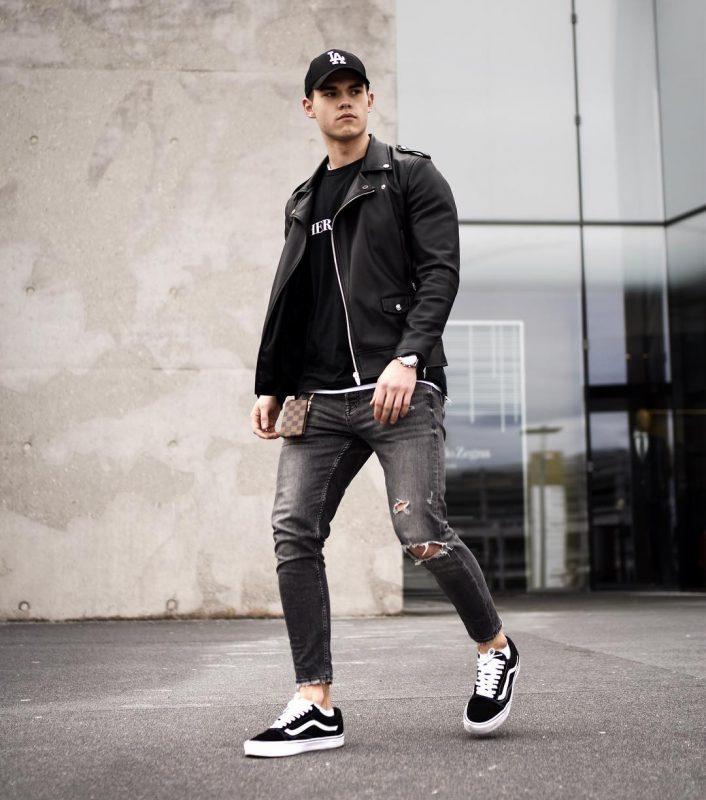 Leather biker jacket, tee, jeans, sneaker, baseball cap