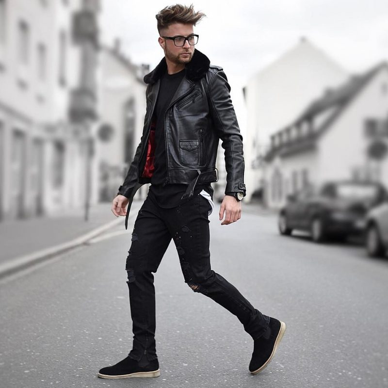 Shearling collar leather biker jacket, black tee, jeans, sneaker