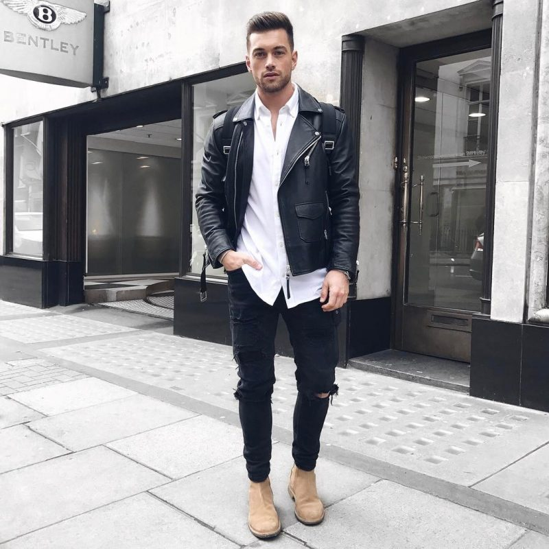 Button-down white shirt, leather biker jacket, black ripped jeans, and Chelsea boots