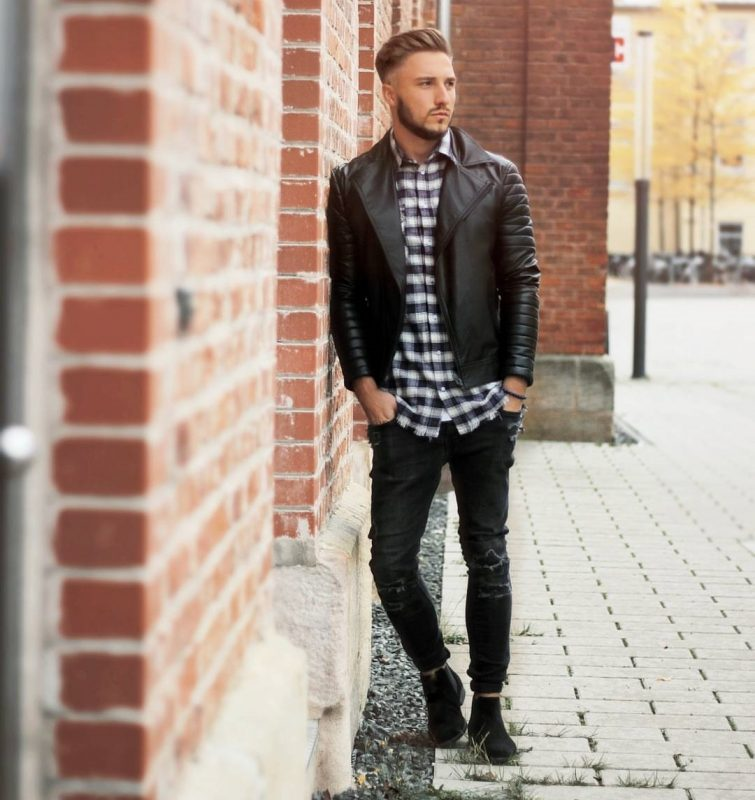 Checked shirt, black leather jacket, black jeans, and Chelsea boots