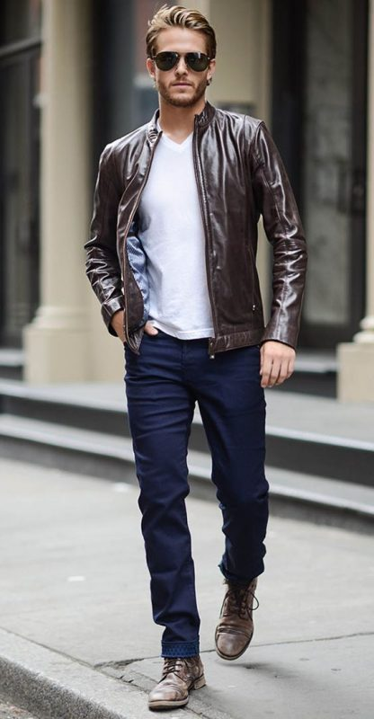 939248aa11aac9 Dark brown leather racer jacket, v-neck white tee, blue jeans, and