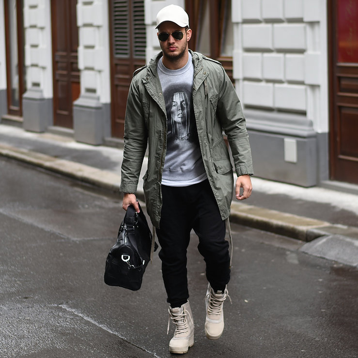 Parka jacket, color tee, jeans, boots