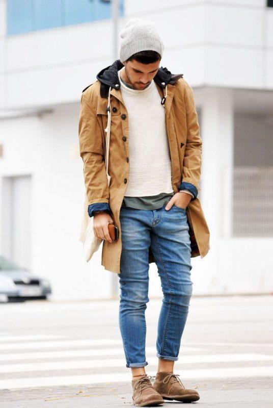 Parka jacket, sweater, jeans