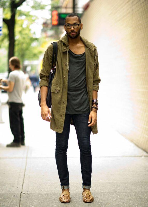 Parka jacket, color tee, jeans
