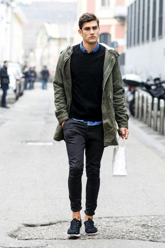 Parka jacket, sweater, shirt, chinos