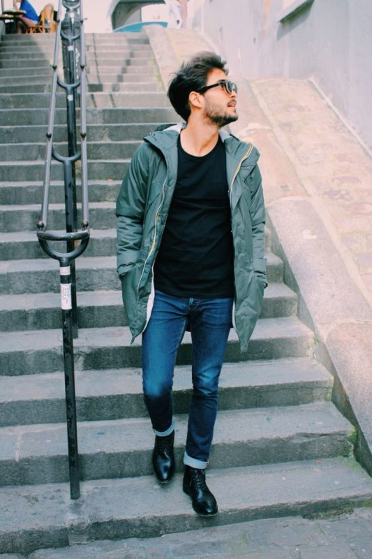 Parka jacket, black tee, jeans