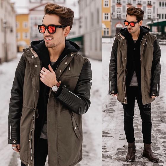 Parka jacket, tee, hoodie jacket, jeans