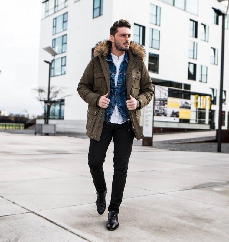Parka jacket, shirt, denim jacket, jeans