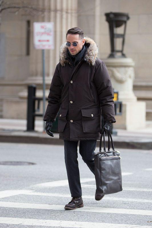 Parka jacket, shirt, leather gloves, dress pants