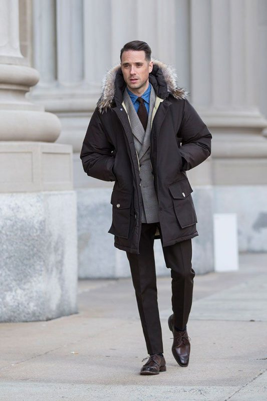 Parka jacket, shirt, suit, tie.