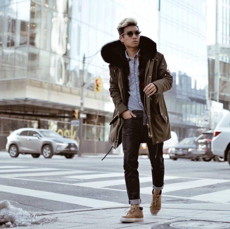 Parka jacket, shirt, jeans