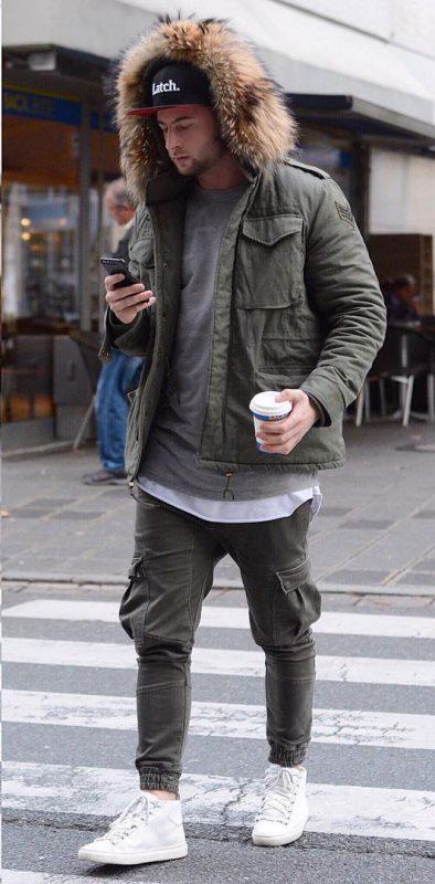 Parka jacket, gray tee, cargo pants