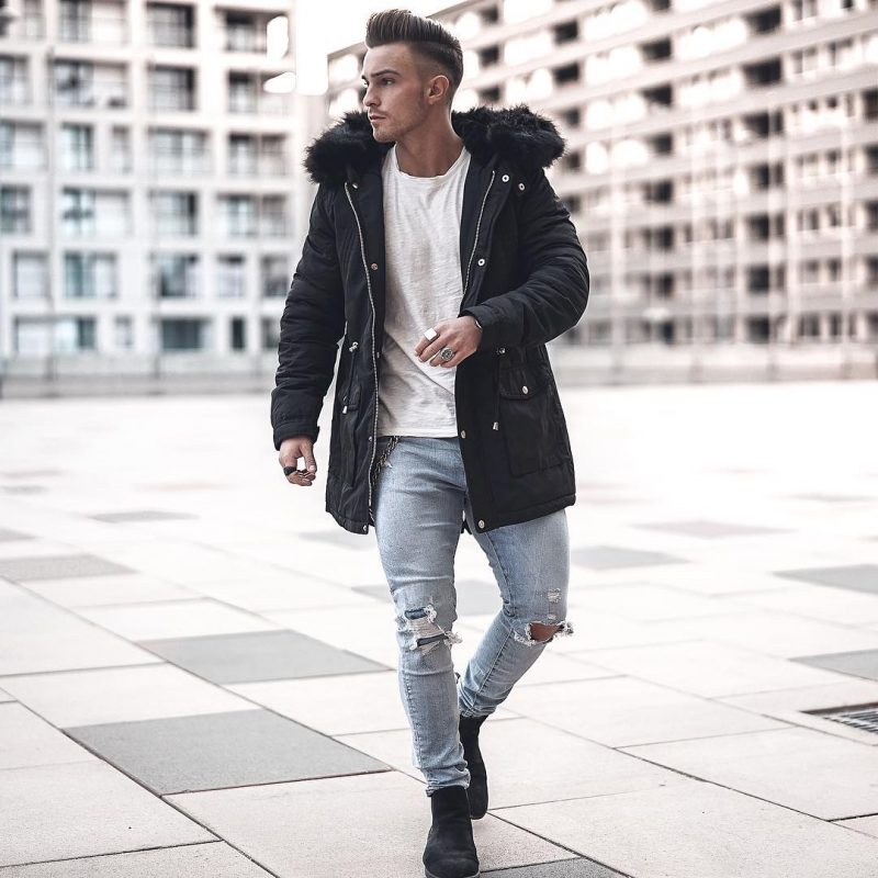 Parka jacket, white tee, jeans