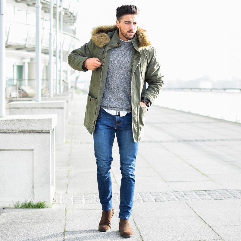 Parka jacket, sweater, shirt, jeans