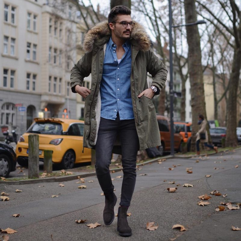 Parka jacket, shirt, singlet, jeans