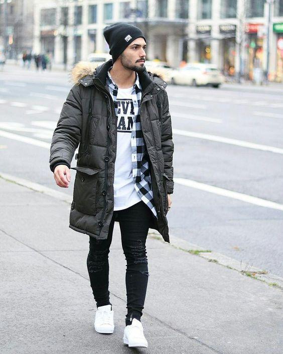 Parka jacket, shirt, white tee, beanie hat, jeans