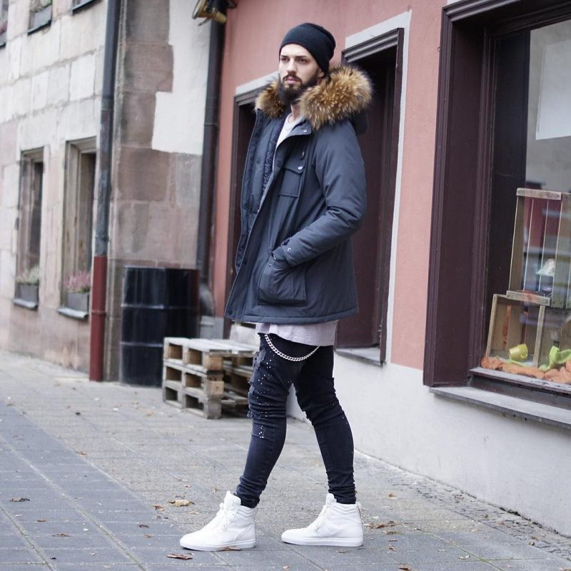 Parka jacket, white tee, beanie hat, jeans