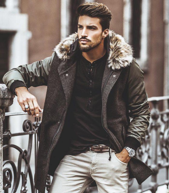 Parka jacket, black tee, khaki pants